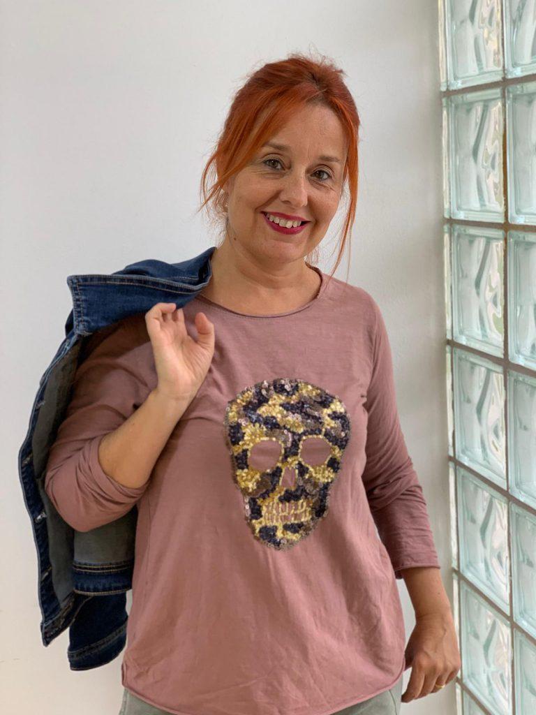 CAMISETA CATRINA LENTEJUELAS ROSA MAQUILLAJE (2)
