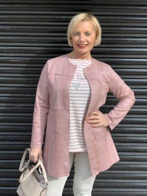 chaqueta polipiel rosa