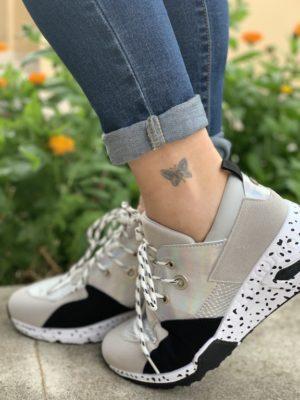 zapatillas metalizadas plata